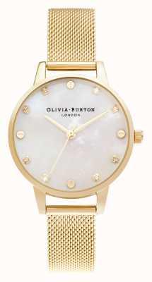 Olivia Burton | quadrante midi mop con dettaglio a vite | bracciale in maglia oro pallido | OB16SE08