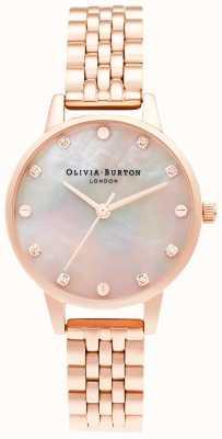 Olivia Burton | quadrante midi mop con dettaglio a vite | bracciale in oro rosa | OB16SE10