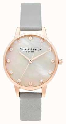 Olivia Burton | quadrante midi mop con dettaglio a vite | grigio e oro rosa | OB16SE12