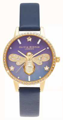 Olivia Burton Quadrante midi in madreperla in pelle blu ape brillante OB16GB06