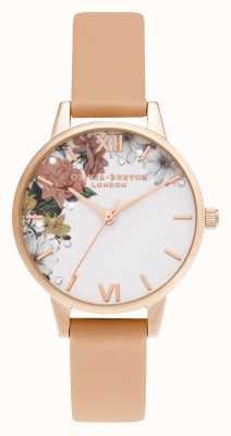 Olivia Burton | scintillio floreale | midi | oro rosa | cinturino in corallo | OB16BF30