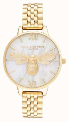 Olivia Burton Bracciale in oro con quadrante demi in madreperla ape fortunata OB16FB18