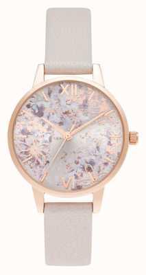 Olivia Burton Quadrante floreale astratto rosa perla e oro rosa midi OB16VM47