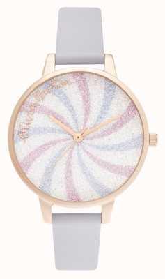 Olivia Burton Quadrante demi glitter lolly parma viola e oro rosa OB16CD03