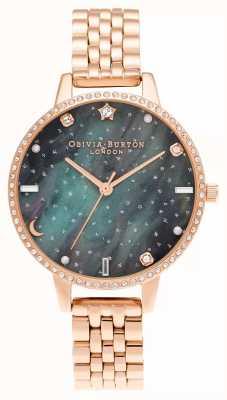 Olivia Burton Bracciale in oro rosa con quadrante demi dell'aurora boreale OB16GD66