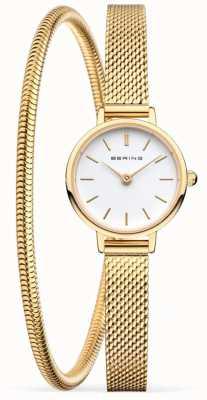 Bering Set regalo per la festa della mamma   orologio e bracciale in maglia d'oro 11022-334