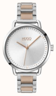 HUGO #mellow | bracciale in acciaio bicolore | quadrante argentato | 1540057