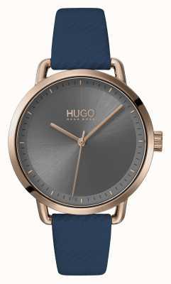 HUGO #mellow | cinturino in pelle blu | quadrante grigio | 1540054