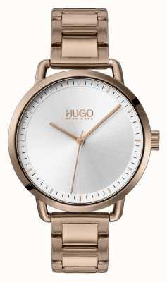 HUGO #mellow | bracciale in acciaio placcato oro beige | quadrante argentato | 1540056