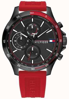 Tommy Hilfiger Banca | cinturino in silicone rosso | quadrante nero | 1791722