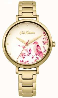 Cath Kidston Bracciale in acciaio inossidabile dorato | quadrante uccello floreale CKL099GM