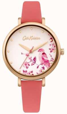 Cath Kidston Cinturino in pelle rosa da donna | quadrante uccello floreale argento CKL099PRG