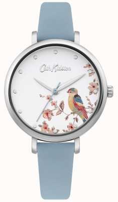 Cath Kidston Cinturino in pelle blu pallido | quadrante uccello floreale argento CKL099US