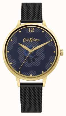 Cath Kidston Cinturino in rete nera | quadrante floreale blu CKL095GBM