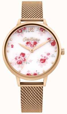 Cath Kidston | cinturino a maglia da donna in oro rosa | quadrante floreale bianco CKL095RGM