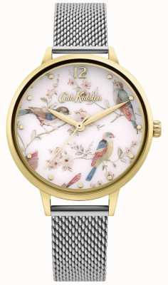 Cath Kidston | quadrante con stampa floreale di uccelli da donna | bracciale a maglie d'argento CKL095GSM