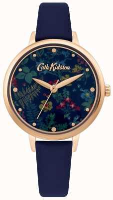 Cath Kidston Quadrante con stampa floreale da donna | cinturino in pelle blu scuro CKL096URG