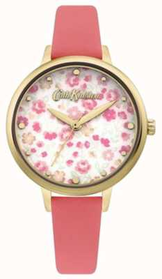 Cath Kidston Quadrante con stampa floreale da donna | cinturino in pelle corallo CKL096PG