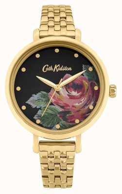 Cath Kidston | oxford femminile | bracciale in acciaio placcato oro | quadrante floreale CKL087GM