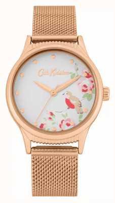 Cath Kidston Cinturino in maglia oro rosa | quadrante stampa floreale bianco | CKL091RGM