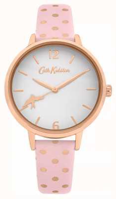 Cath Kidston Cinturino in pelle a pois rosa | quadrante bianco | CKL088P