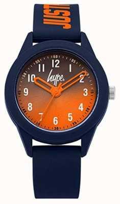 Hype | cinturino in silicone blu scuro | quadrante arancione | HYK003U