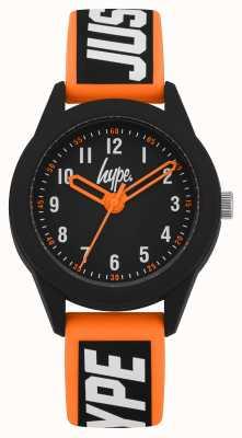 Hype | cinturino in silicone arancione / nero | quadrante nero | HYK004OB