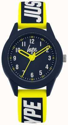 Hype | cinturino in silicone giallo / blu | quadrante blu | HYK004YU