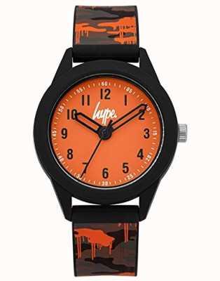 Hype | cinturino in silicone camo grigio / arancione | quadrante arancione | HYK009NO
