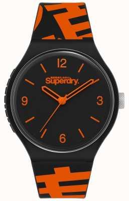 Superdry Cinturino in silicone nero / arancione | quadrante nero opaco | SYG294BO
