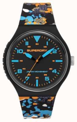 Superdry Quadrante nero opaco | cinturino mimetico multicolore | SYG295BU
