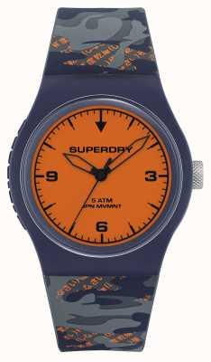 Superdry Quadrante arancione | cinturino in silicone blu / arancione | SYG296UO
