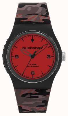 Superdry Unisex | quadrante rosso | cinturino in caucciù mimetico SYG296BR