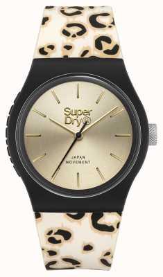 Superdry Quadrante champagne spazzolato | cinturino stampa leopardo | SYG299GB