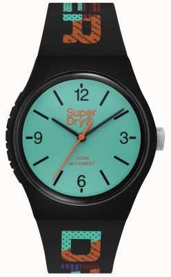 Superdry Quadrante verde acqua opaco | cinturino in silicone nero | SYG301BAU