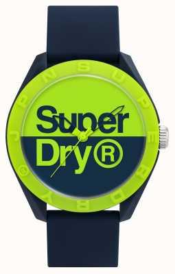 Superdry Cinturino in silicone blu scuro | quadrante blu / verde SYG303UN