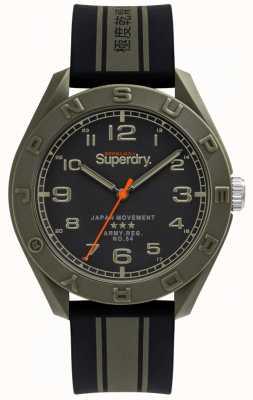 Superdry | osaka | cinturino in caucciù nero / cachi | quadrante nero | SYG305NB