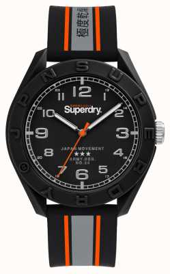 Superdry Quadrante nero opaco | cinturino nero / grigio / arancione SYG305EB