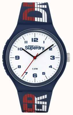 Superdry Cinturino in silicone blu / bianco / rosso | quadrante bianco | SYG269UW