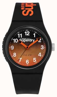 Superdry | cinturino in silicone nero | quadrante bicolore nero / arancione | SYG198BO