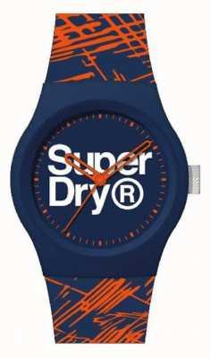 Superdry Cinturino in silicone blu / arancione | quadrante blu / arancione / bianco | SYG292OU