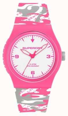 Superdry | urbano | fluoro camo femminile | cinturino in silicone | quadrante bianco SYL296EP