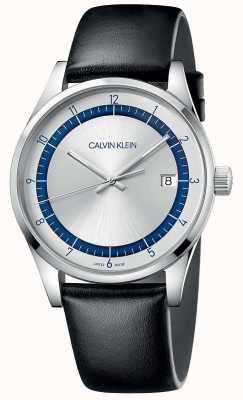 Calvin Klein | completamento | cinturino in pelle nera | quadrante argento / blu | KAM211C6