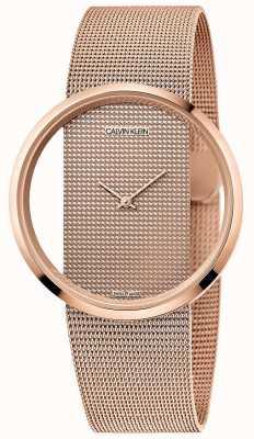 Calvin Klein | glam | bracciale in maglia placcata pvd oro rosa | quadrante in oro rosa K942362A