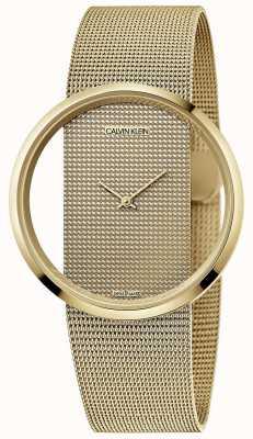 Calvin Klein | glam | bracciale in maglia di acciaio placcato oro pvd | quadrante oro | K9423Y29