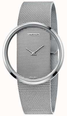 Calvin Klein | glam | bracciale a maglie in acciaio argento | quadrante argentato | K9423T27