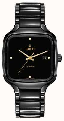 RADO Diamanti automatici quadrati veri   bracciale in ceramica nera R27078722