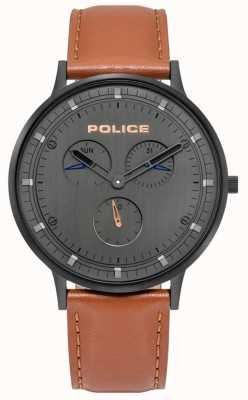 Police | berkeley maschile | cinturino in pelle marrone | quadrante grigio | 15968JSB/39