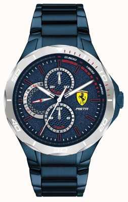 Scuderia Ferrari | pista maschile | cinturino in acciaio ionizzato blu | quadrante blu 0830759