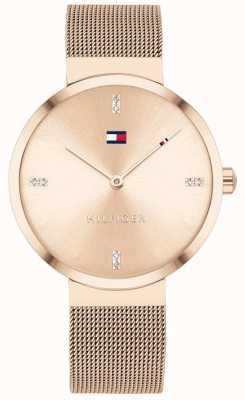 Tommy Hilfiger Libertà | braccialetto a maglie in oro rosa | quadrante in oro rosa 1782218
